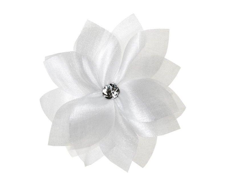 Witte bloem met zilver steentje