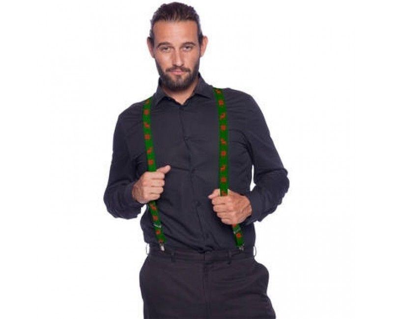 Kerst bretels groen rendier, per stuk