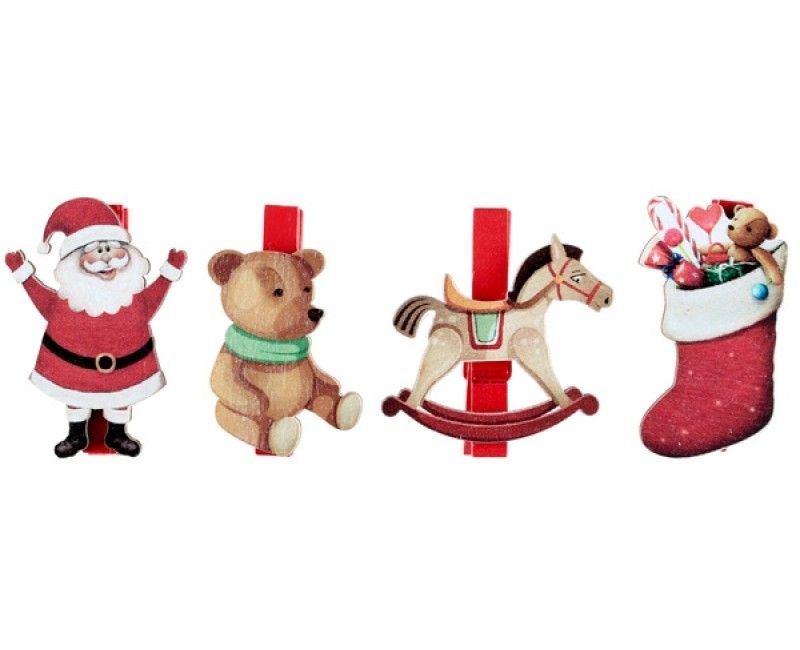 Kerstfiguren op knijper 3 x 5cm, 4 stuks