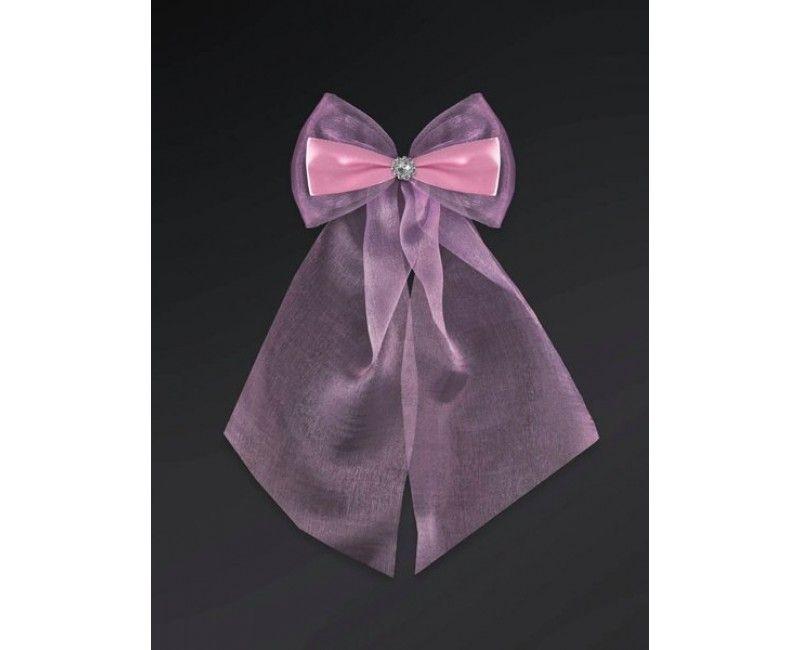 Roze strikken met organza en diamant, 2 stuks