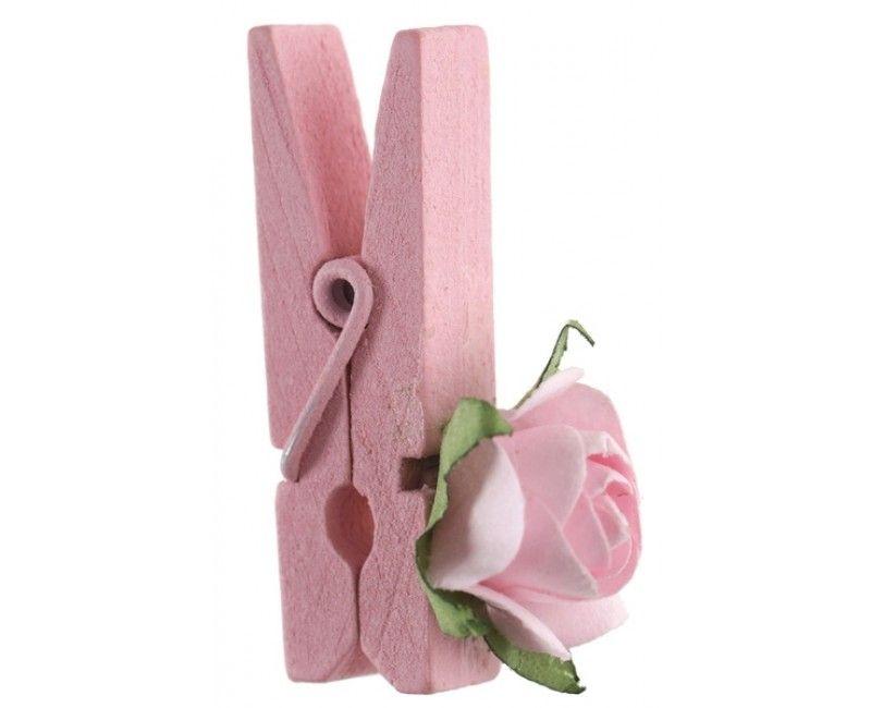 Houten knijpertjes lichtroze met lichtroze roosje, 4 stuks