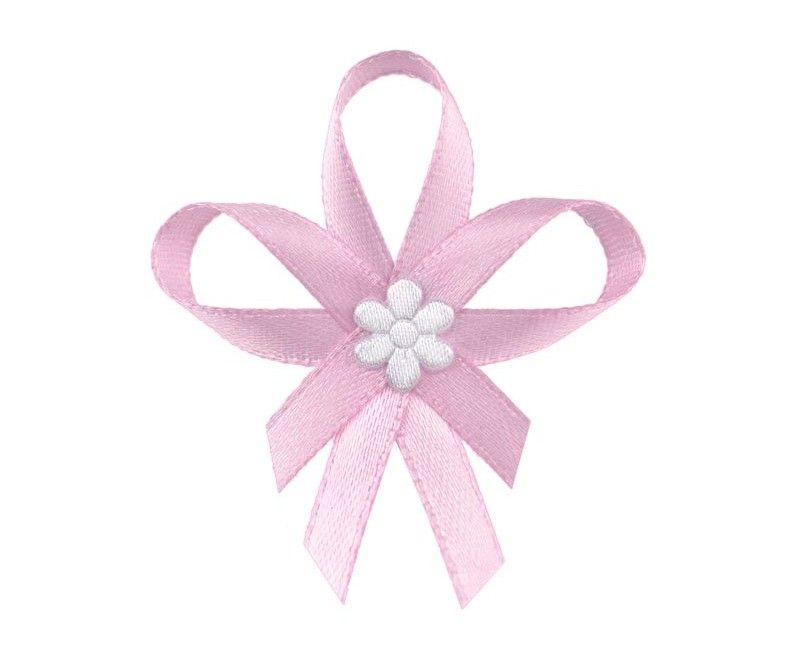 Roze lintjes met witte bloem