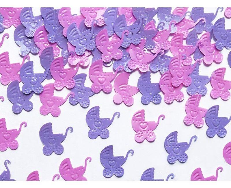 Tafelconfetti kinderwagen lichtroze en lavendel, 15 gram