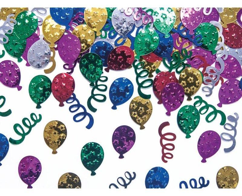 Tafelconfetti ballonnen & slingers multicolour metallic, zakje 15 gram