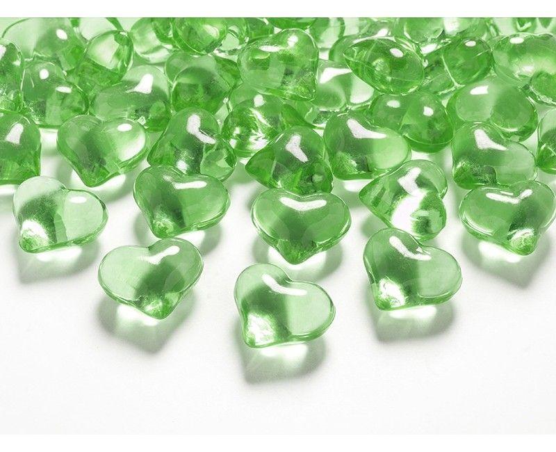Kristallen hartjes 21mm lichtgroen, 30 stuks