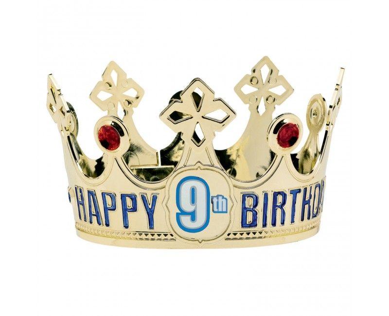 Gouden kroon Happy Birthday met leeftijds stickers