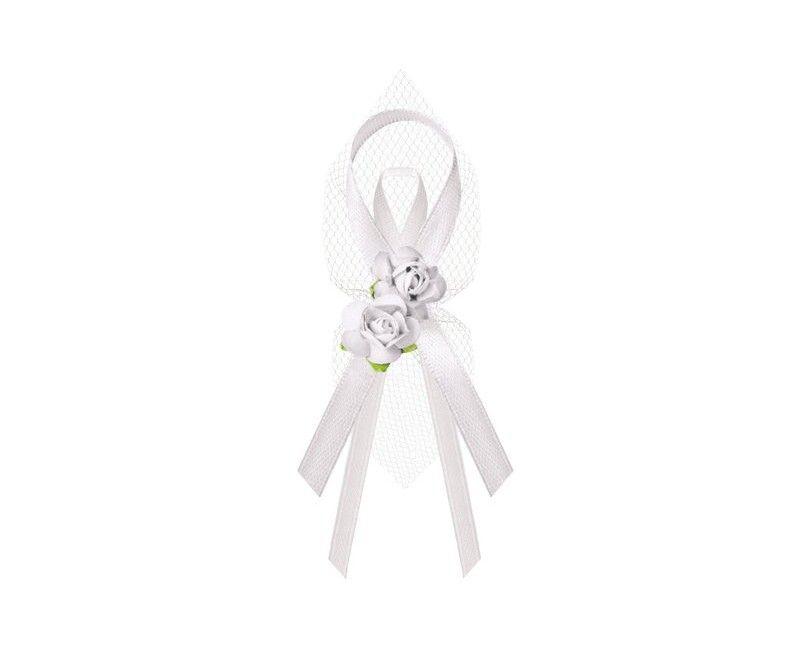 Witte lintjes met tule en bloemetjes