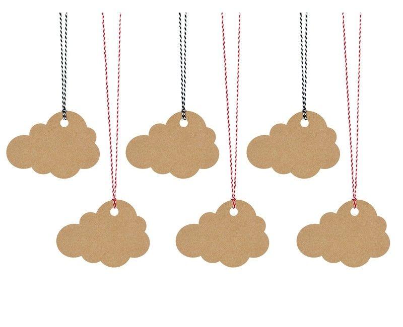 Decoratie labels wolk kraft met touw, 6 stuks