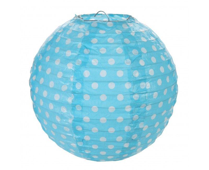 Lampion 20cm lichtblauw met witte stippen, 2 stuks