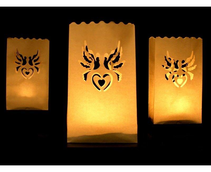 Candlebag duiven met hart, 10 stuks