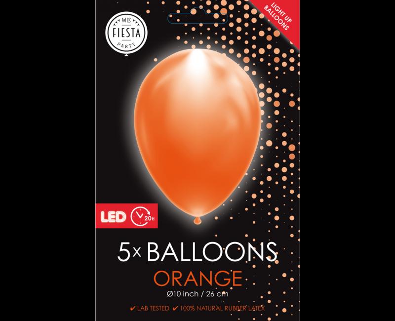 LED ballonnen oranje 5 stuks