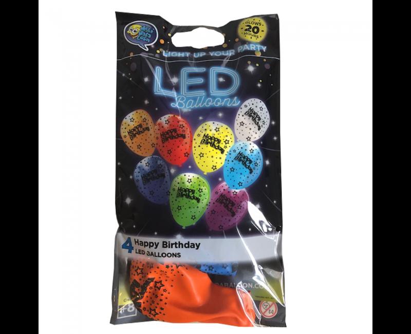 LED ballonnen Happy Birthday mix, 4 stuks