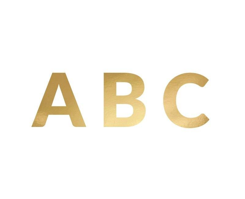Banner letterset mat goud 63-delig, hoogte letters 14cm