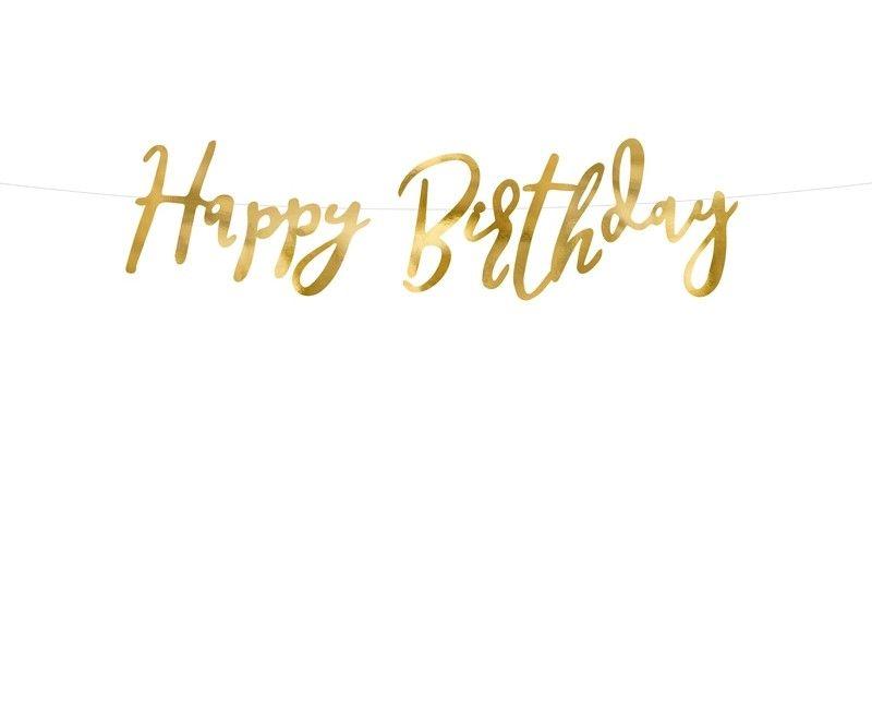 Letterslinger Happy Birthday goud 16.5 x 62cm