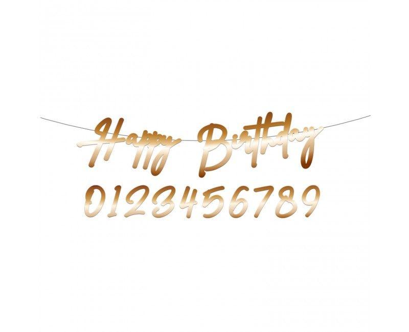 Letterslinger Happy Birthday goud met cijfers