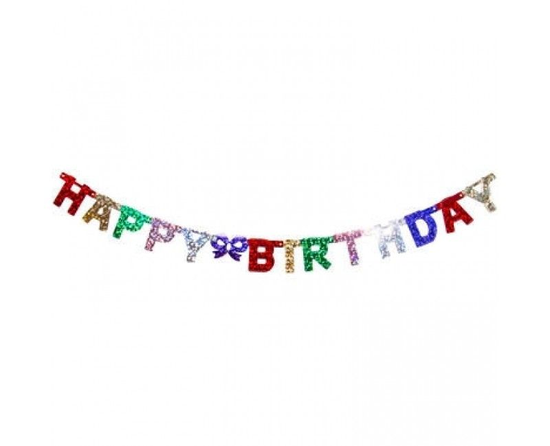 Letterslinger Happy Birthday holografisch, 1.5 mtr