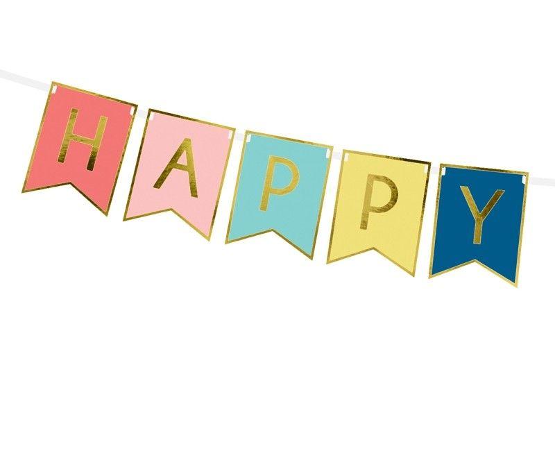 Letterslinger Happy Birthday mix goud