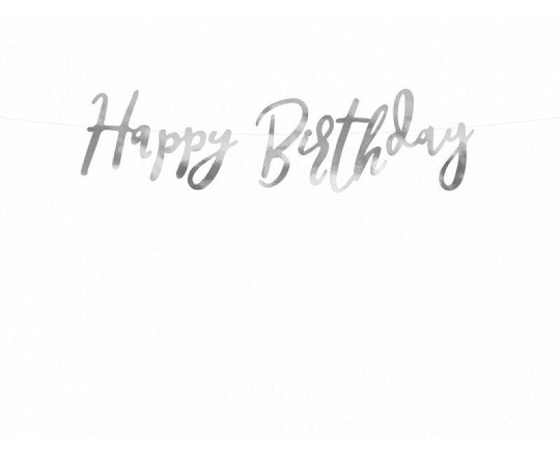 Letterslinger Happy Birthday zilver 16.5 x 62cm
