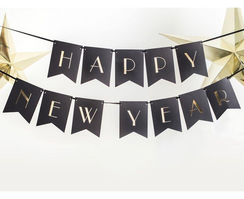 Letterslinger Happy New Year zwart goud 170cm