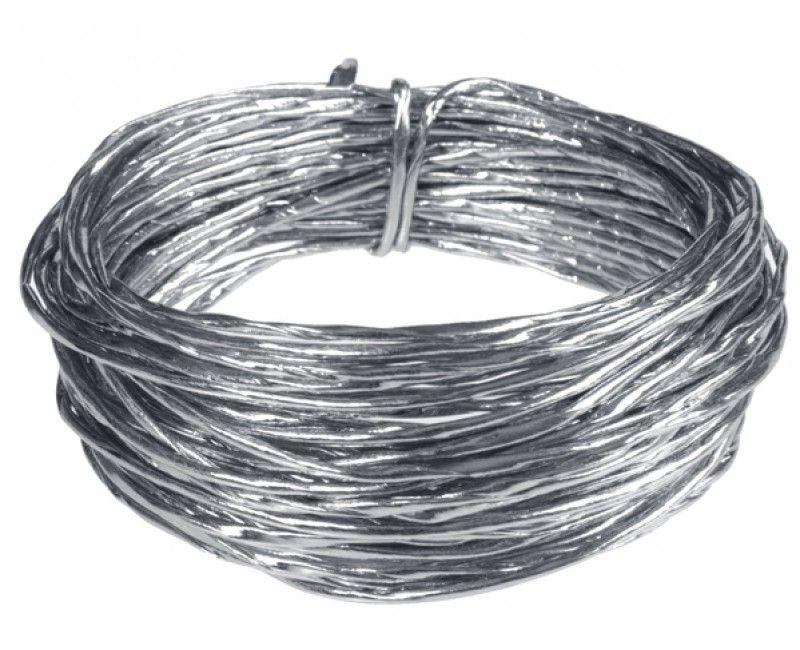 Lichtgewicht aluminium draad met zilver metallic papieren laagje, 10 meter