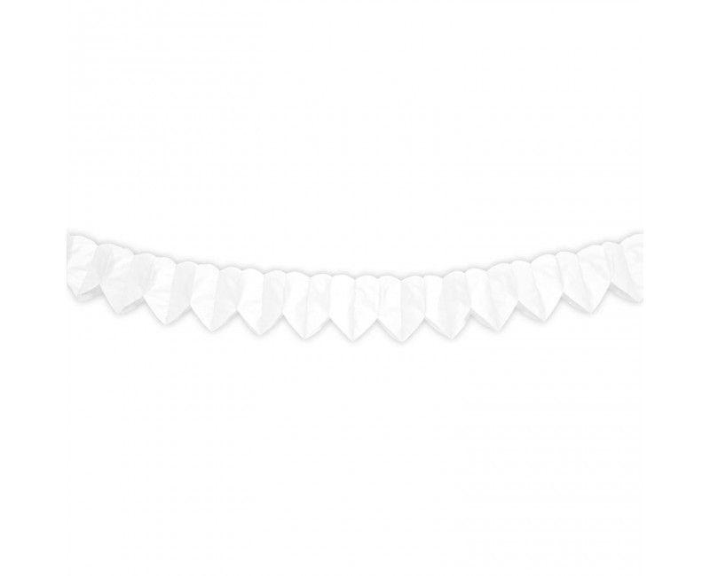 Papieren mini slinger witte hartjes, 2 meter