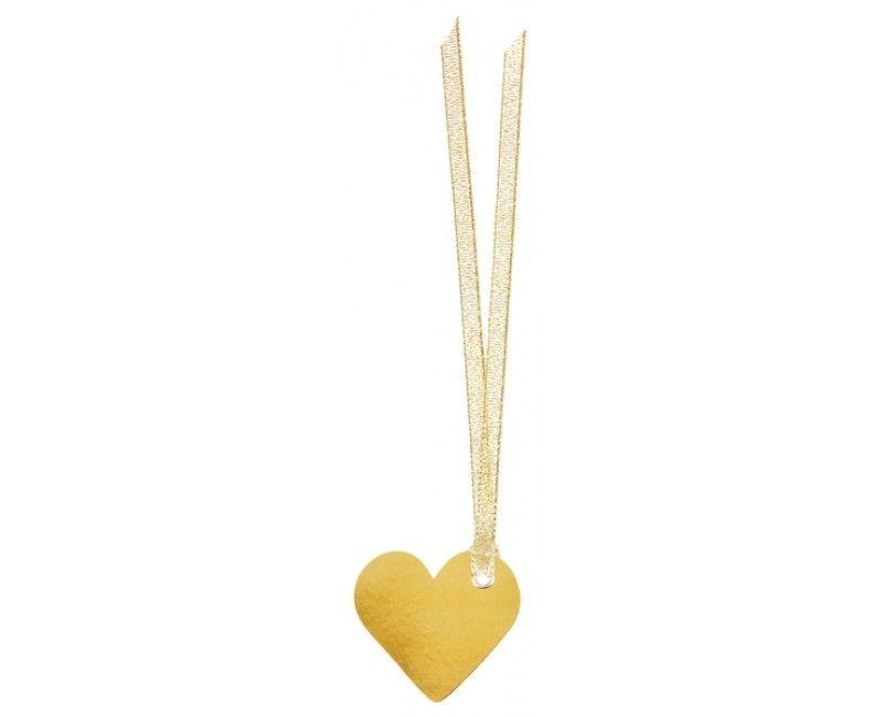 Naamkaartje met lint hart goud metallic, 10 stuks