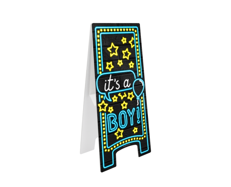 Neon waarschuwingsbord It's a boy, 28 x 58cm