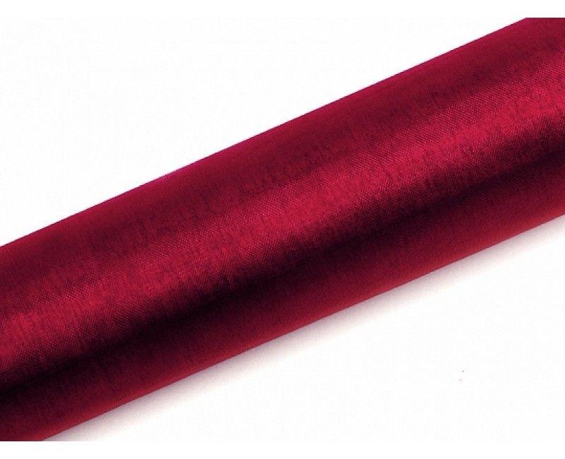 Organza wijn rood 16cm breed, rol 9 meter