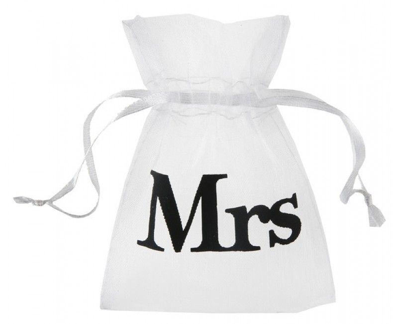 Organza zakje wit met opdruk Mrs, 10 stuks