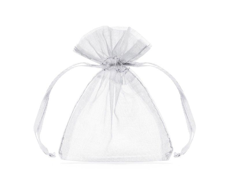 Organza bedankzakje met satijn lint wit, 20 stuks