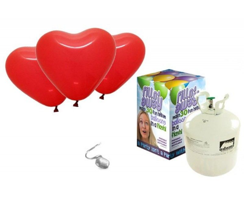Heliumtank met 25 rode hartballonnen