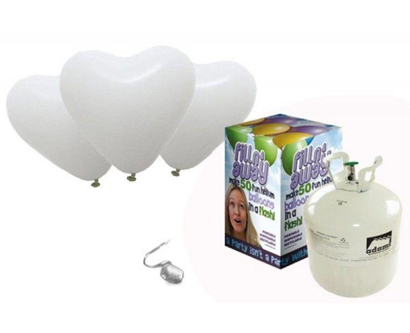 Heliumtank met 40 witte hartballonnen