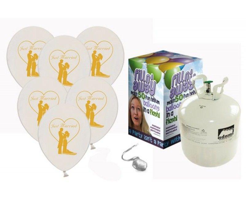 Heliumtank met 50 Just Married couple ballonnen