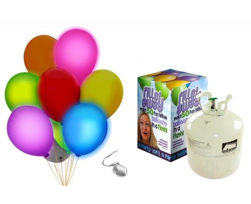 Heliumtank met 30 LED ballonnen