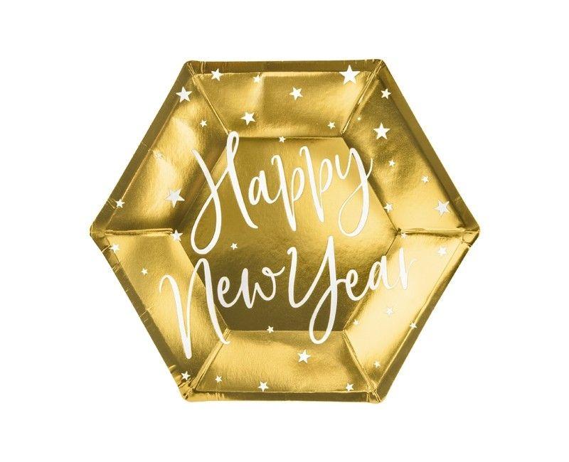 Papieren bord Happy New Year goud 20cm, 6 stuks