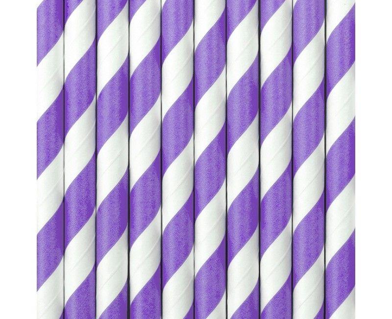 Papieren rietjes twist lila, 10 stuks