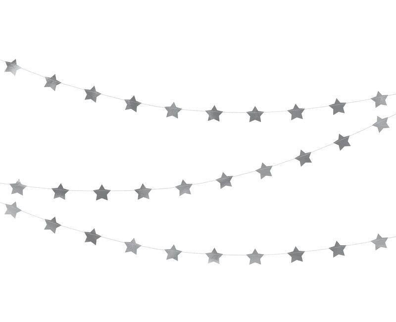 Papieren slinger met sterren zilver metallic, 3.6 meter