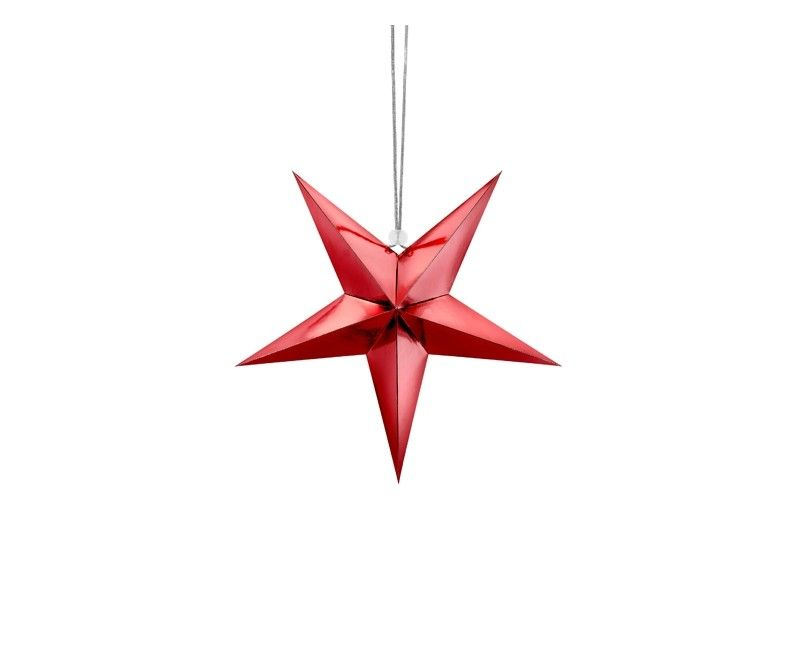 Papieren ster 30cm rood metallic