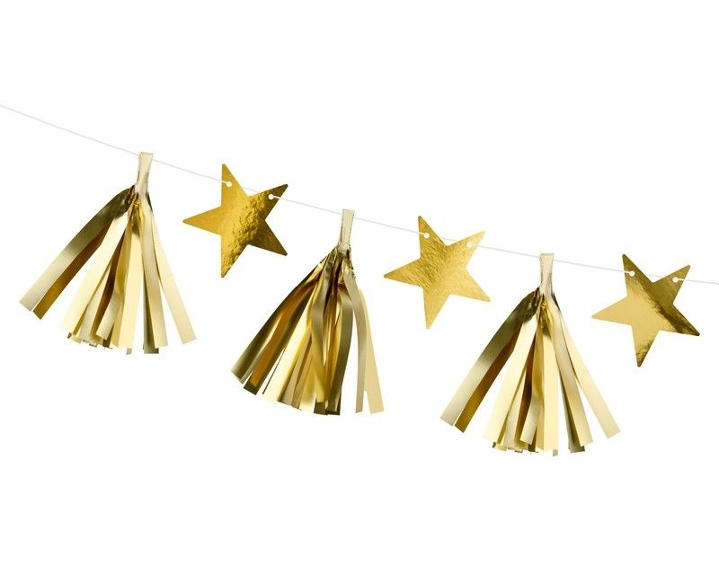 Tassel slinger goud metallic met sterren, 1.3 mtr