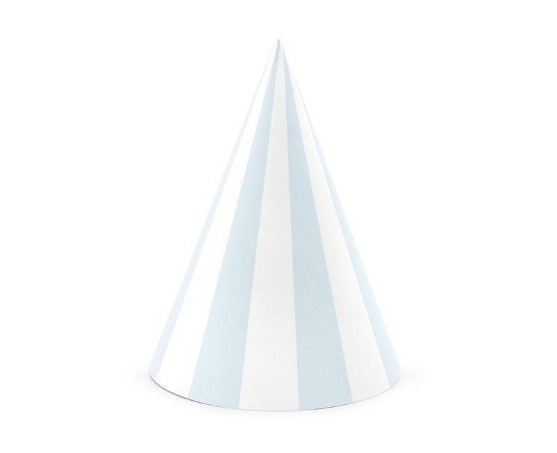 Feest hoedje gestreept lichtblauw, 6 stuks