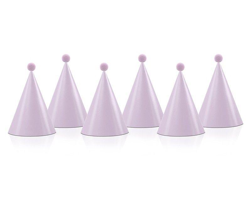 Party hats lichtroze met pom pom, 6 stuks