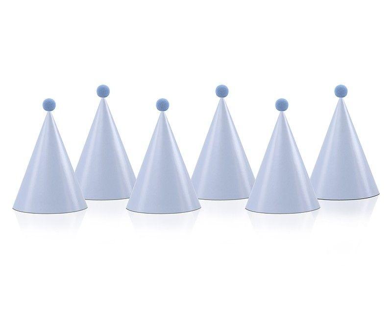 Party hats lichtblauw met pompom, 6 stuks