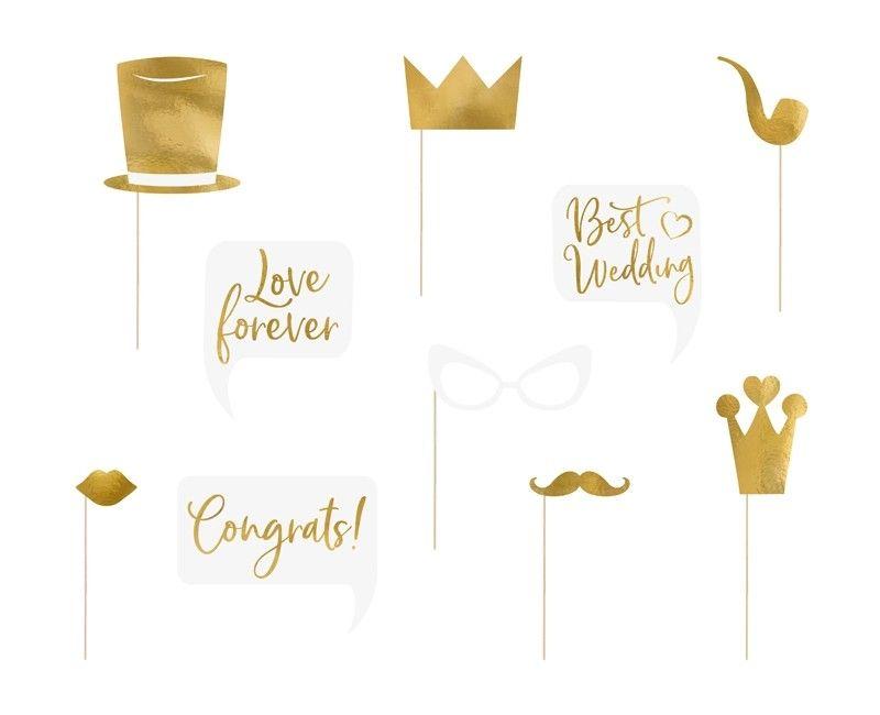 foto & party props Wedding gold, set 10 stuks