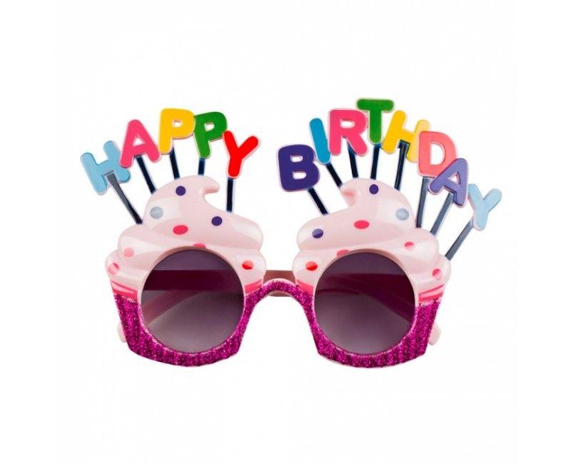Partybril Happy Birthday glitter roze