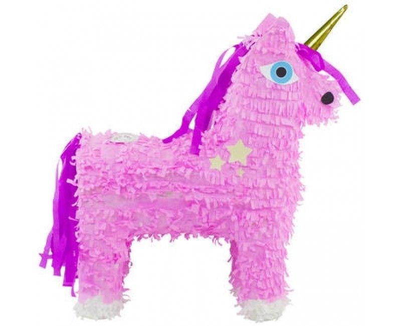 Pinata roze unicorn met gouden hoorn
