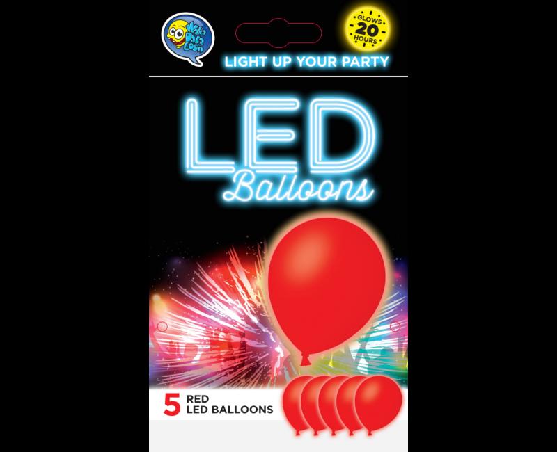 LED ballonnen rood 5 stuks