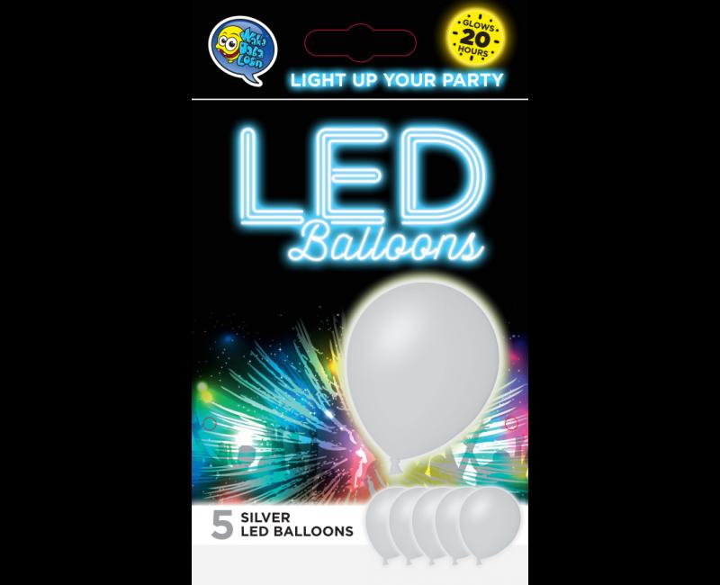 LED ballonnen zilver 5 stuks