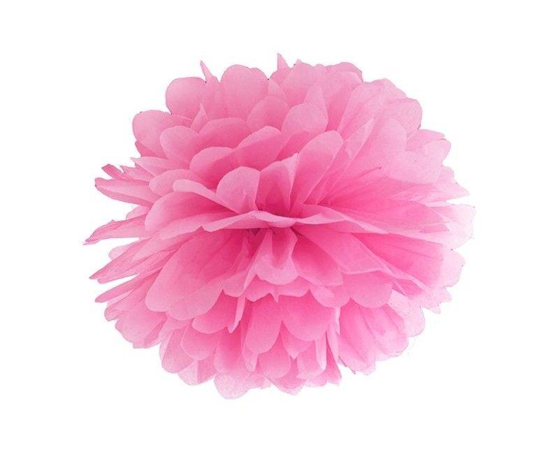 Pompom roze 35cm, per stuk