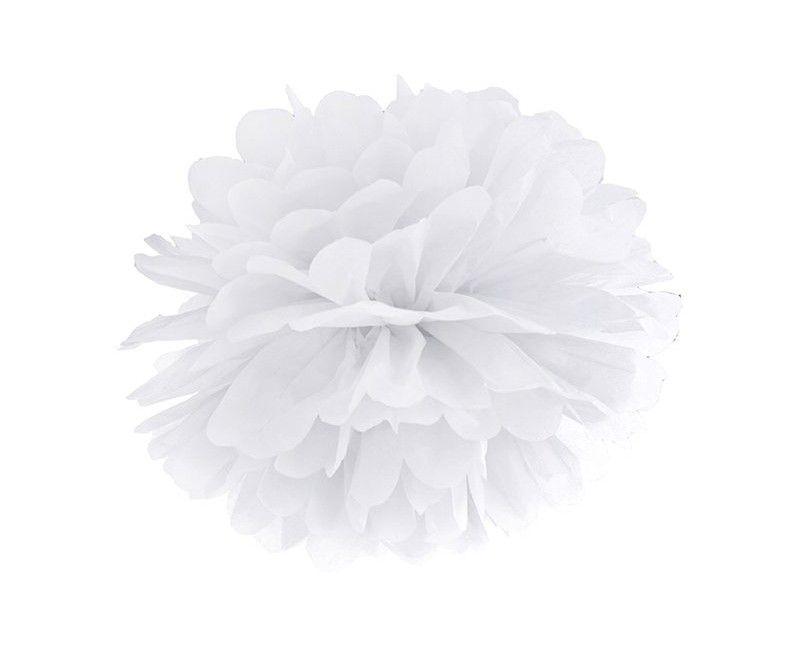 Pompom wit 35cm, per stuk