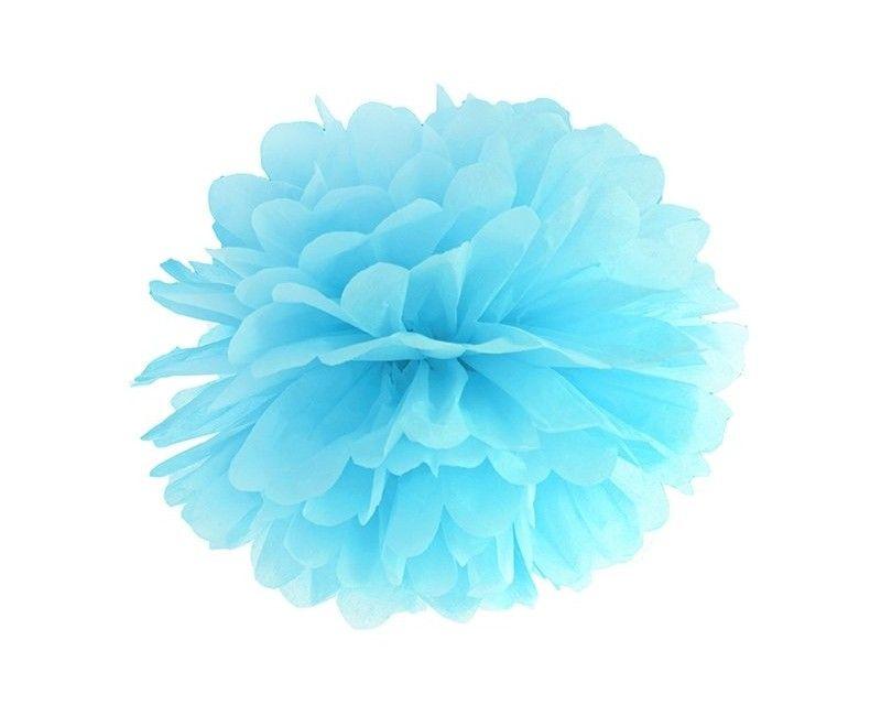 Pompom lichtblauw 35cm, per stuk